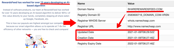 RewardsFeed Whois Registration