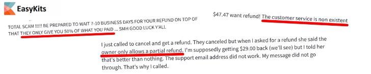 EasyKits Complaints No Refund