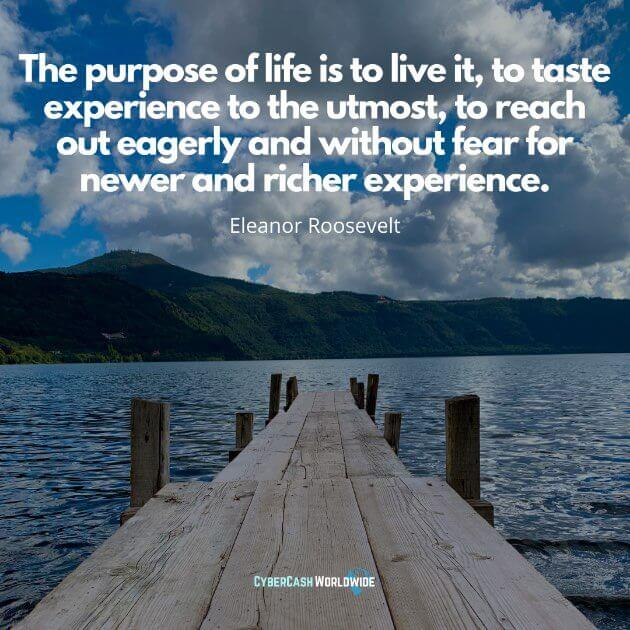 The purpose of life is to live it, to taste experience to the utmost, to reach out eagerly and without fear for newer and richer experience. [Eleanor Roosevelt]